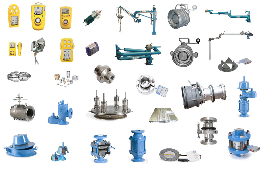 Products-breather-valves-Flame-arresters-breakaway-couplers-API-loading-arms-Construction